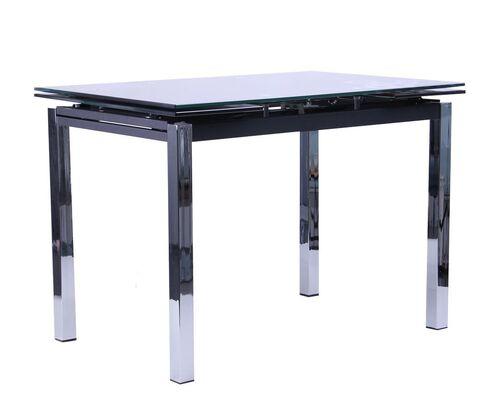 Стол обеденный раскладной Глория хром/Стекло черный с узором - Фото №1
