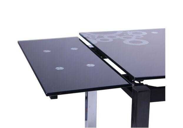 Стол обеденный раскладной Глория хром/Стекло черный с узором - Фото №2