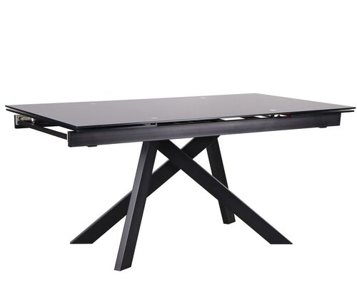 Стол обеденный раскладной Андалусия черный/стекло антрацит - Фото №1