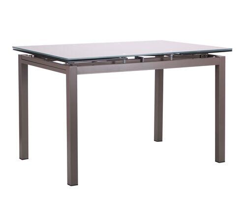 Стол обеденный раскладной Мишель серый/стекло платина - Фото №1