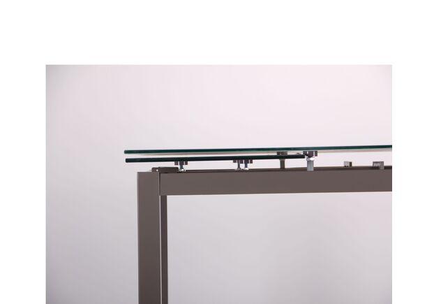 Стол обеденный раскладной Мишель серый/стекло платина - Фото №2