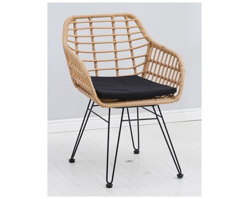 Кресло Tulum черный, ротанг латте - Фото №1