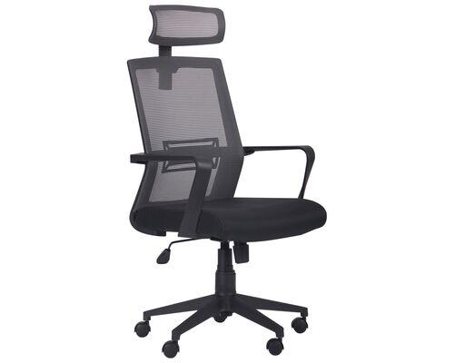 Кресло Neon HR сиденье Саванна nova Black 19/спинка Сетка серая - Фото №1