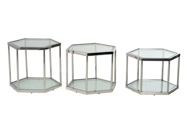 Кофейный стол CK-3 прозрачный + серебро - Фото №2