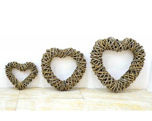 Декор для помещения Сердце (набор из 3 шт,) натуральный ротанг - Фото №1