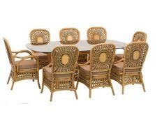 фото Обеденный стол Ацтека 8 персон натуральный ротанг светло коричневый