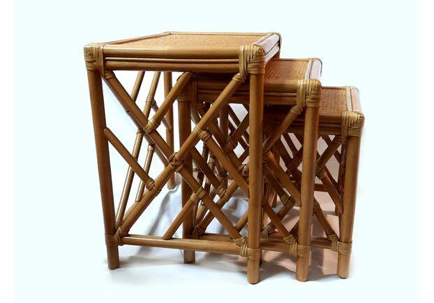 Комплект столиков Трио натуральный ротанг ореховый - Фото №1