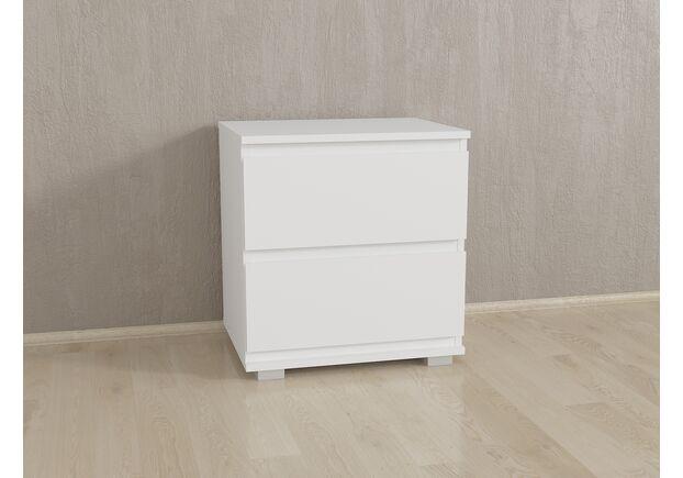 Прикроватка на 2 ящика без ручек Б-7 Белый - Фото №1