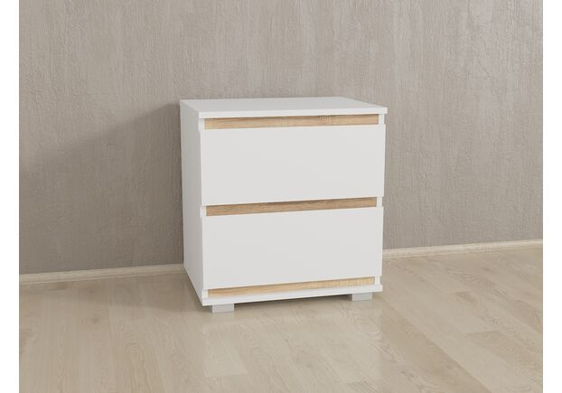 Прикроватка на 2 ящика без ручек Б-7 Белый - Дуб Сонома Планки - Фото №1