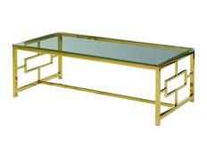 Журнальный стол прозрачный+золото