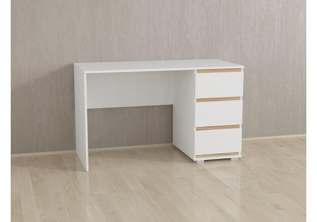 Стол компьютерный на 3 ящика Б-5 Белый - Дуб Крафт Планки - Фото №1