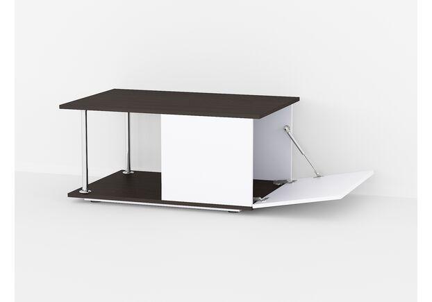 Стол журнальный с барной дверкой А-70 Венге темный - белый - Фото №1
