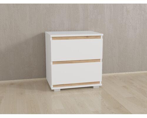 Прикроватка на 2 ящика без ручек Б-7 Белый - Дуб Крафт - Фото №1