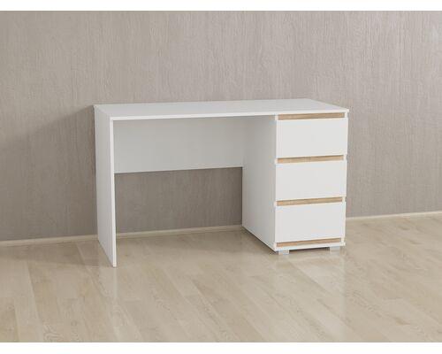 Стол компьютерный на 3 ящика Б-5 Белый - Дуб Сонома Планки - Фото №1