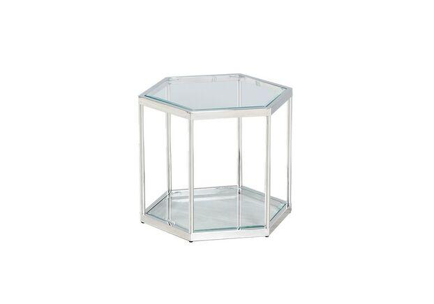 Кофейный стол CK-3 прозрачный + серебро - Фото №1