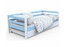 Одноярусная кровать Валенсия цвет белый с голубым 80 х 190 мм
