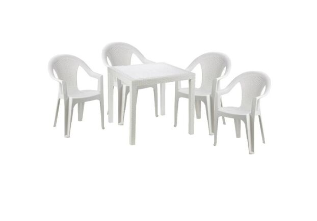 Набор стол King+4 кресла Ischia белый - Фото №1