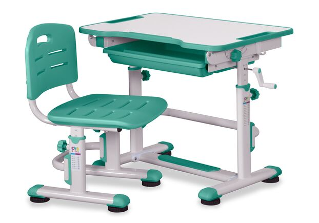 Комплект cтол и стул Evo-kids BD-08 Z столешница белая, цвет пластика зеленый - Фото №1