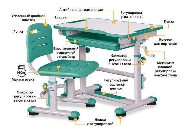 Комплект cтол и стул Evo-kids BD-08 Z столешница белая, цвет пластика зеленый - Фото №2