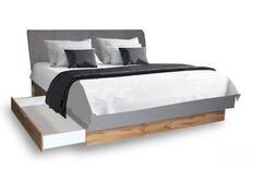 фото Кровать Линц сп.м 180*200 см с ящиками идеальная мягкая для большой семьисерый Шифер/Дуб Вотан