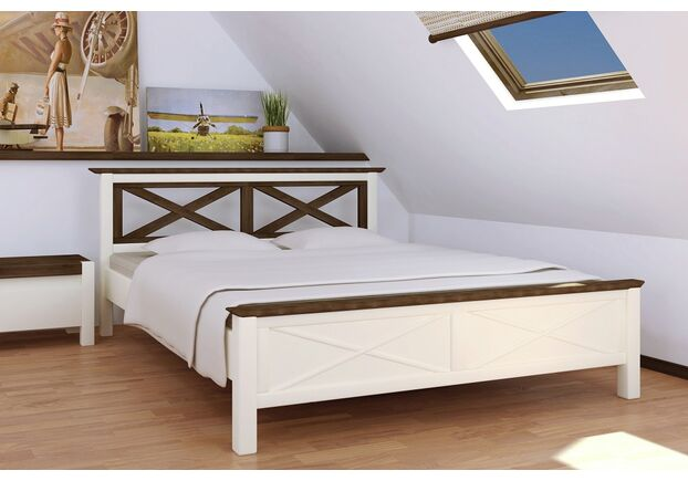 Двухспальная кровать Нормандия 160х200 см ваниль - темный орех - Фото №1