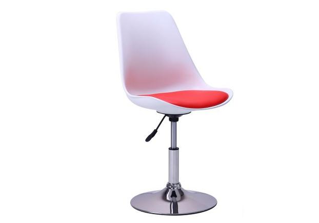 Барный стул Aster chrome белый+красный - Фото №1