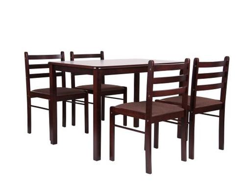 Комплект обеденный Брауни (стол+4 стула) темный шоколад/капучино - Фото №1