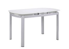 Стол обеденный раскладной Кассандра База белый/Стекло белый