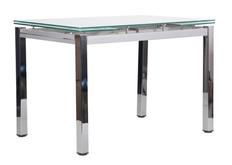 Стол обеденный раскладной Сандро хром/стекло белый