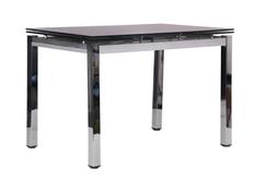Стол обеденный раскладной Сандро хром/стекло черный