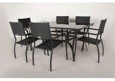 Обеденный комплект CRUZO Блэк Стил (стол +6 стульев) черный
