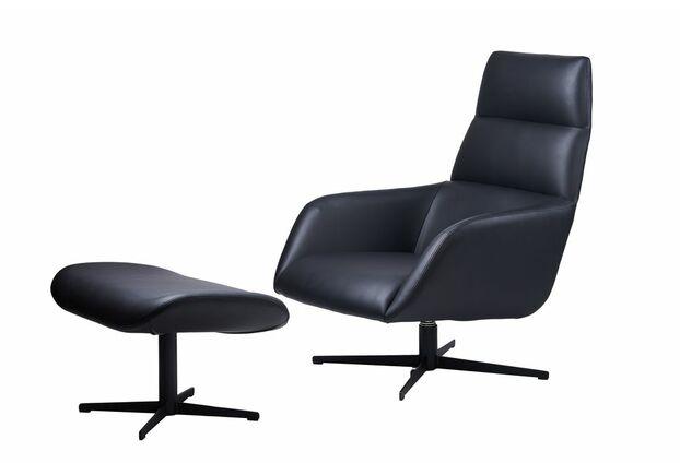 Кресло-лаунж с оттоманкой BERKELEY Беркли экокожа черный - Фото №1