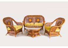 Комплект мебели из натурального ротанга CRUZO Ацтека  (Софа на 2 человека, 2 кресла, кофейный стол)