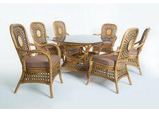 Фото Обеденный комплект CRUZO Ацтека (стол +6 кресел) натуральный ротанг светло коричневый ok0028