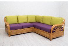 Угловой диван натуральный ротанг