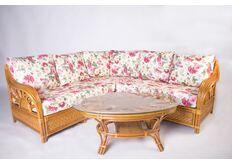 Фото Угловой диван CRUZO Аскания со столиком натуральный ротанг королевский дуб