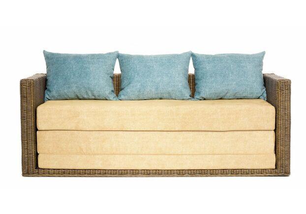 Диван-кровать CRUZO Уго натуральный ротанг с желтым матрасом  - Фото №1