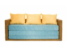 Фото Диван-кровать CRUZO Уго натуральный ротанг с голубым матрасом go0001