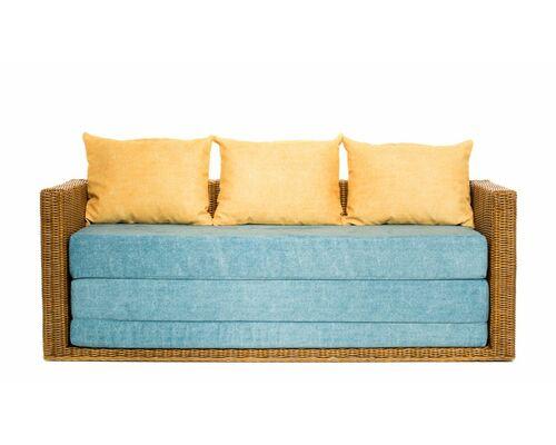 Диван-кровать CRUZO Уго натуральный ротанг с голубым матрасом  - Фото №1