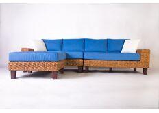 Фото Модульный диван с пуфом CRUZO Фйорд дерево / водный гиацинт синий