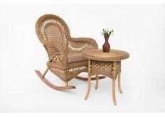 Фото Кресло-качалка с приставным столиком CRUZO Виктория натуральный ротанг светло-коричневый kk0015