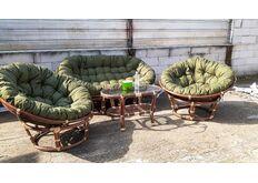 фото Комплект мебели Папасан из натурального ротанга орех