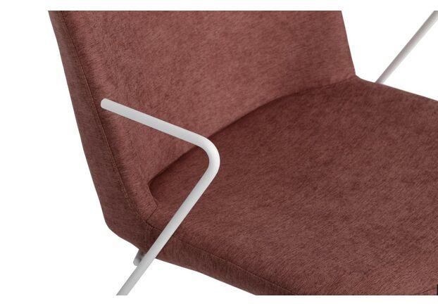 Стул CORSICA (49*62*80 см текстиль) с железными подлокотниками, какао ножки белые - Фото №2