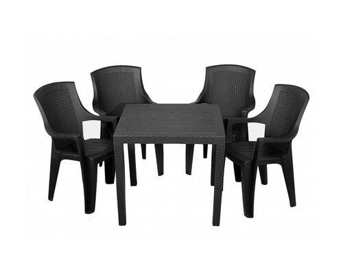 Набор для сада стол King+4 кресла Eden антрацит - Фото №1