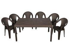 фото Набор для сада стол Prince+6 кресел Ischia коричневый