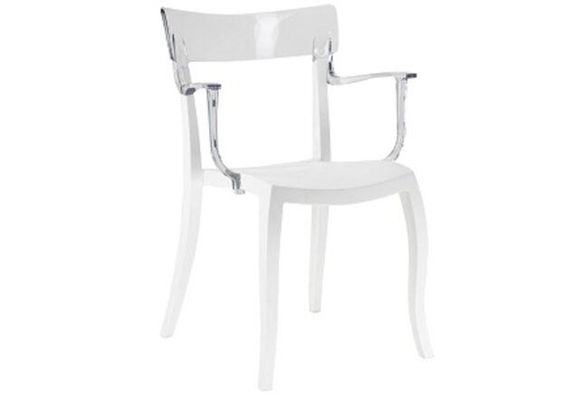 Кресло барное пластиковое Hera-K  верх белый/сиденье белое - Фото №1