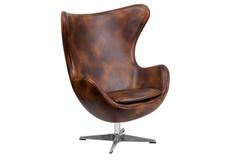 Кресло Эгг коричневое/экокожа