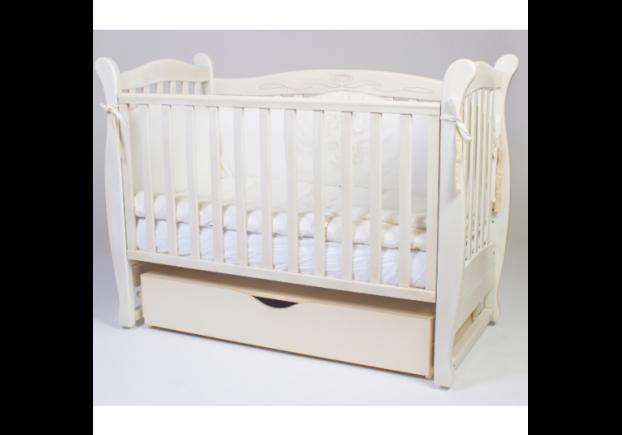 Детская кроватка Соня ЛД-15 патина цвет дуб молочный маятник с ящиком - Фото №1