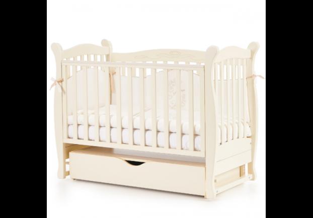 Детская кроватка Соня ЛД-15 цвет слоновая кость маятник с ящиком - Фото №1