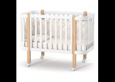 Детская кроватка ЛД-5 Монако на колесиках  бело-буковая для детей